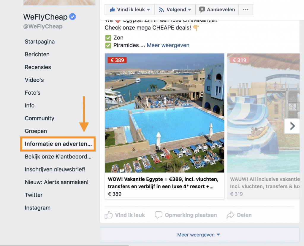Facebook informatie en advertenties